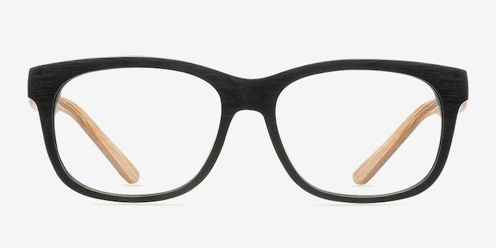 White Pine Noir Acétate Montures de Lunettes d'EyeBuyDirect, Vue de Face