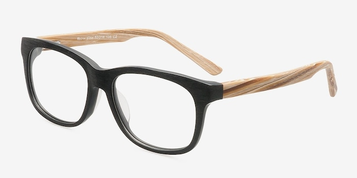 White Pine Black Acetate Eyeglass Frames from EyeBuyDirect, Angle View