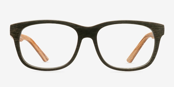 White Pine Olive Acetate Eyeglass Frames from EyeBuyDirect, Front View