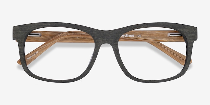 White Pine Olive Wood-texture Eyeglass Frames from EyeBuyDirect, Closed View