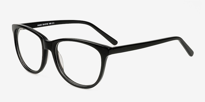 Anahi Black Acetate Eyeglass Frames from EyeBuyDirect, Angle View