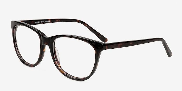 Anahi Brown/Tortoise Acetate Eyeglass Frames from EyeBuyDirect, Angle View