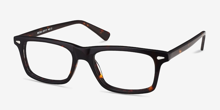 Nicola Brown/Tortoise Acetate Eyeglass Frames from EyeBuyDirect, Angle View