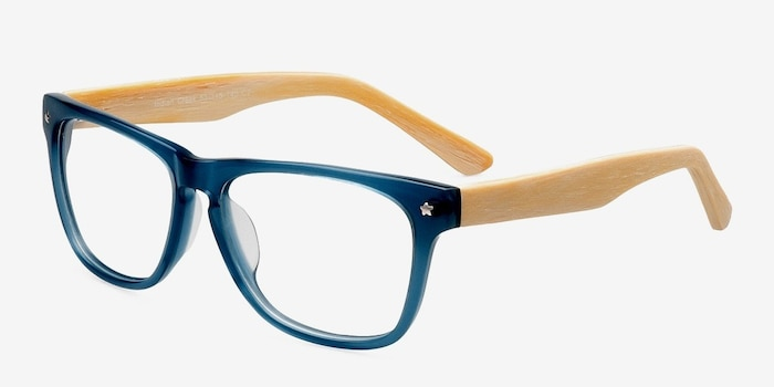 Indian Creek Blue Acetate Eyeglass Frames from EyeBuyDirect, Angle View