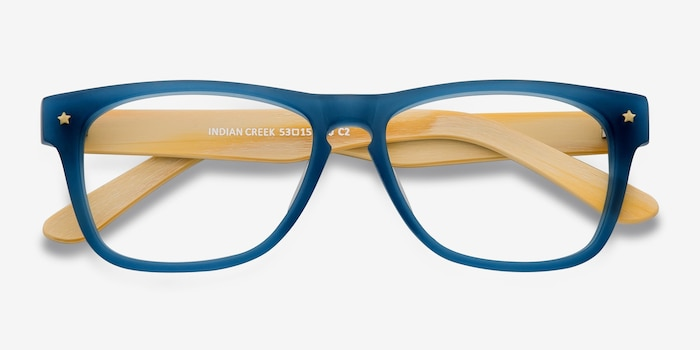 Indian Creek Blue Acetate Eyeglass Frames from EyeBuyDirect, Closed View