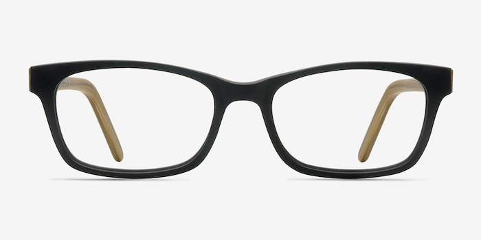 Mesquite  Black/Yellow Acetate Eyeglass Frames from EyeBuyDirect, Front View