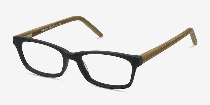 Mesquite  Black/Yellow Acetate Eyeglass Frames from EyeBuyDirect, Angle View