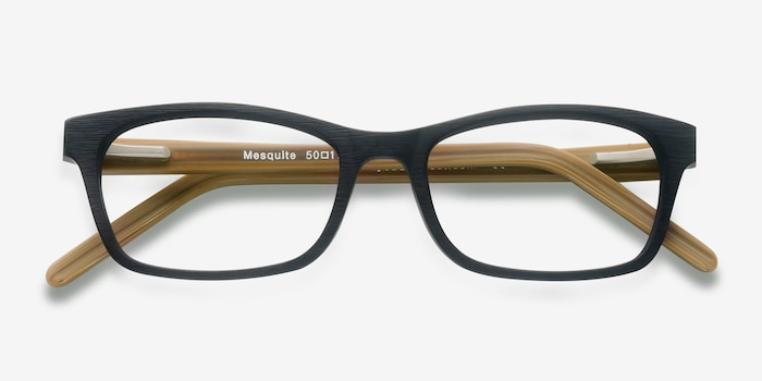 Mesquite  Black/Yellow Acetate Eyeglass Frames from EyeBuyDirect, Closed View