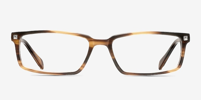 Hugo Brown Acetate Eyeglass Frames from EyeBuyDirect, Front View