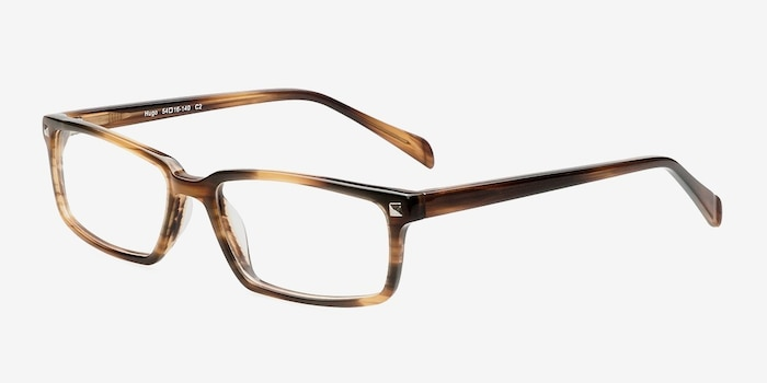 Hugo Brown Acetate Eyeglass Frames from EyeBuyDirect, Angle View