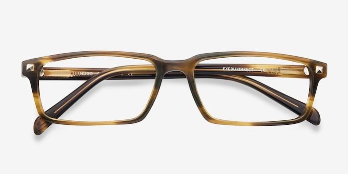 Hugo Marron Acétate Montures de Lunettes d'EyeBuyDirect, Vue Rapprochée