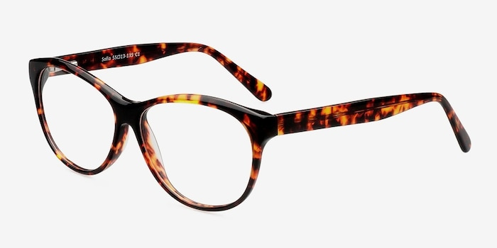 Sofia Tortoise Acetate Eyeglass Frames from EyeBuyDirect, Angle View