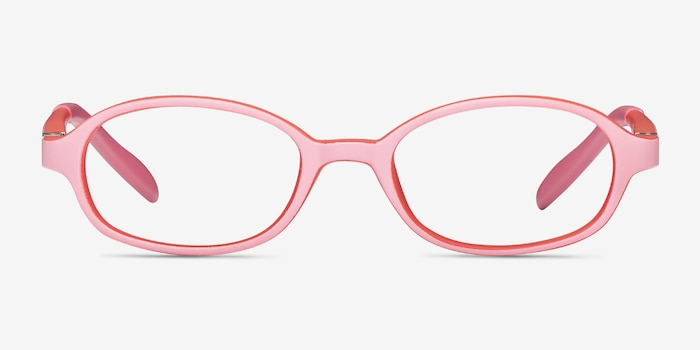 Shelli Pink/Red Plastic Eyeglass Frames from EyeBuyDirect, Front View