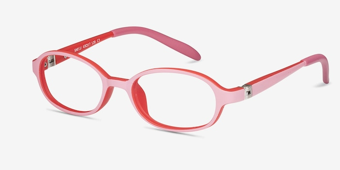 Shelli Pink/Red Plastic Eyeglass Frames from EyeBuyDirect, Angle View
