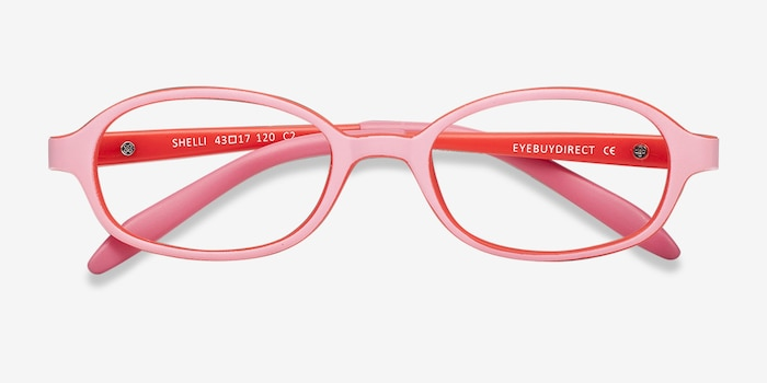 Shelli Pink/Red Plastic Eyeglass Frames from EyeBuyDirect, Closed View