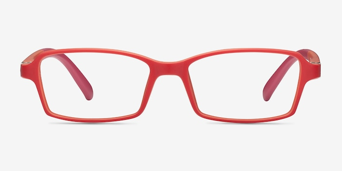 Ricki Red Plastic Eyeglass Frames from EyeBuyDirect, Front View