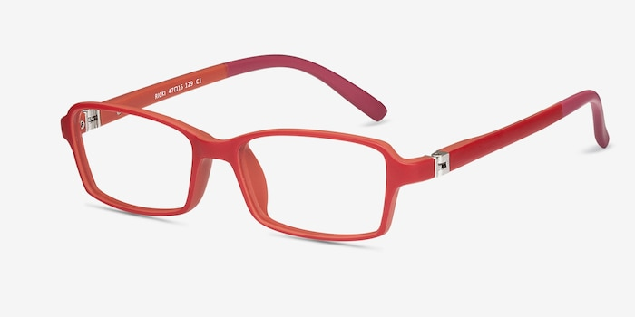 Ricki Red Plastic Eyeglass Frames from EyeBuyDirect, Angle View