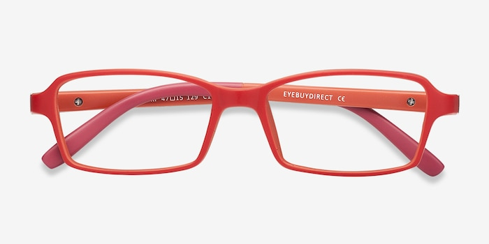 Ricki Red Plastic Eyeglass Frames from EyeBuyDirect, Closed View