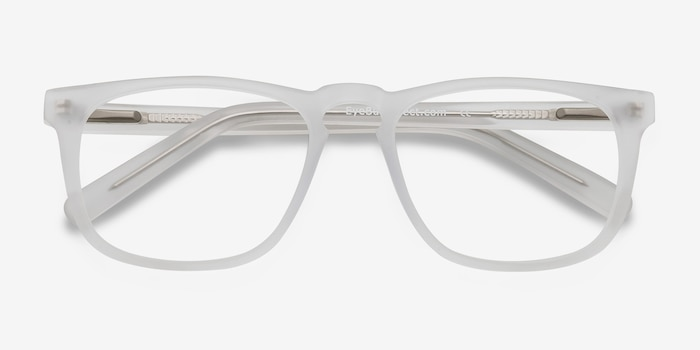Rhode Island Matte Clear Acetate Eyeglass Frames from EyeBuyDirect, Closed View