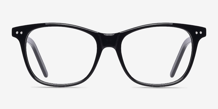 Almost Famous Black Acetate Eyeglass Frames from EyeBuyDirect, Front View