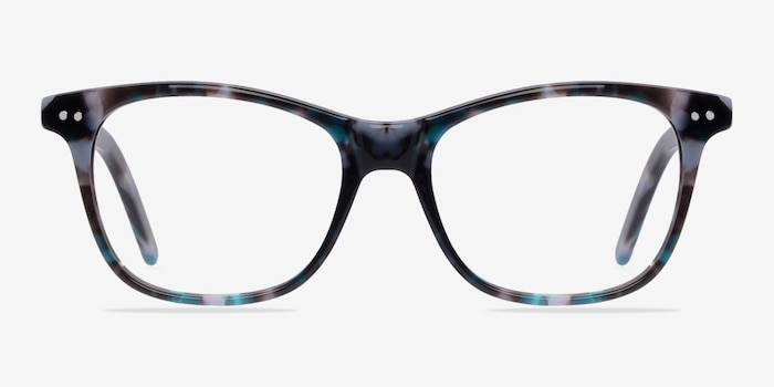 Almost Famous Nebular Blue Acetate Eyeglass Frames from EyeBuyDirect, Front View