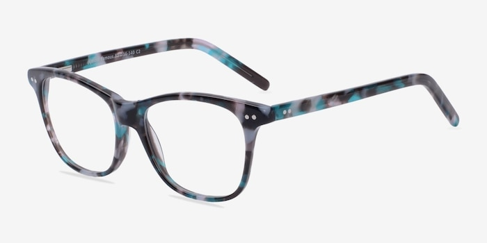 Almost Famous Nebular Blue Acetate Eyeglass Frames from EyeBuyDirect, Angle View