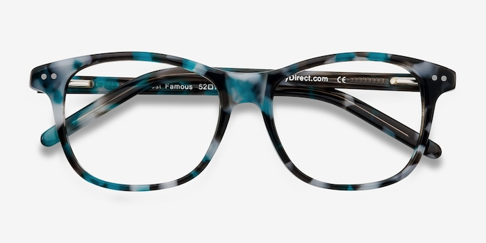 Almost Famous Nebular Blue Acetate Eyeglass Frames from EyeBuyDirect, Closed View