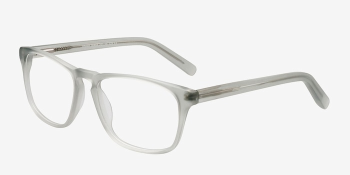 Rhode Island Matte Gray Acetate Eyeglass Frames from EyeBuyDirect, Angle View