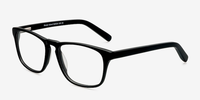 Rhode Island Matte Black Acetate Eyeglass Frames from EyeBuyDirect, Angle View