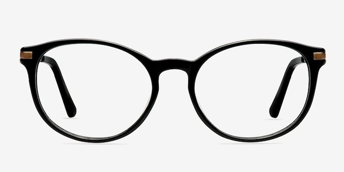 New Bedford Black Plastic Eyeglass Frames from EyeBuyDirect, Front View