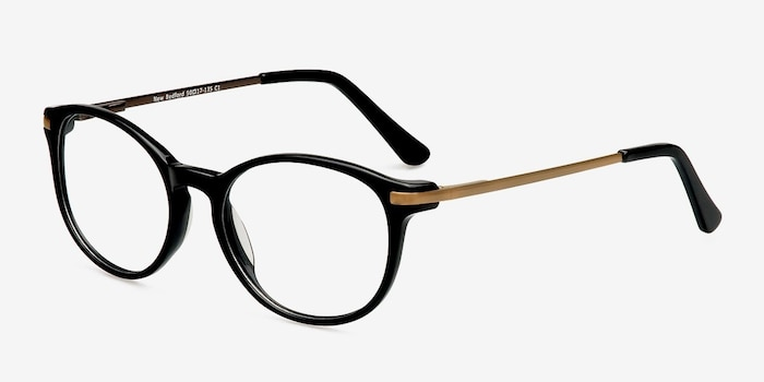 New Bedford Black Plastic Eyeglass Frames from EyeBuyDirect, Angle View