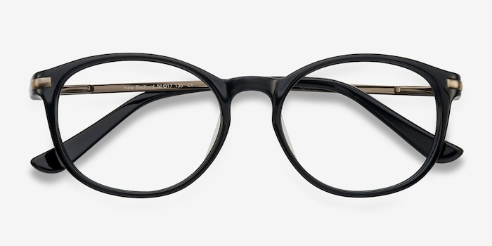 New Bedford Black Plastic Eyeglass Frames from EyeBuyDirect, Closed View
