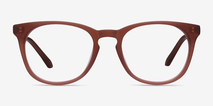 Providence Matte Brown Acetate Eyeglass Frames from EyeBuyDirect, Front View