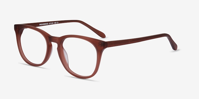 Providence Matte Brown Acétate Montures de Lunettes d'EyeBuyDirect, Vue d'Angle