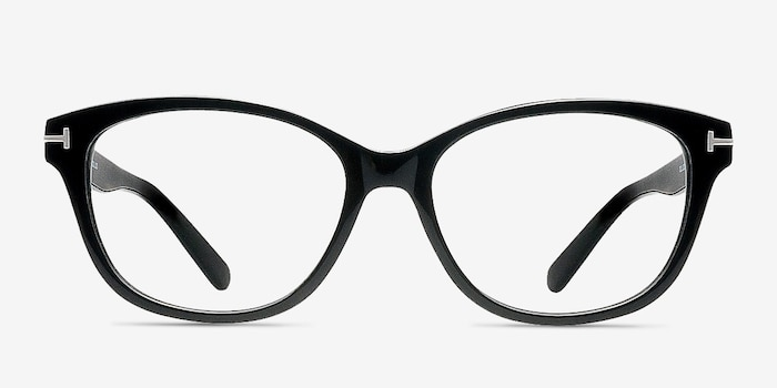 Mia Farrow Black Acetate Eyeglass Frames from EyeBuyDirect, Front View