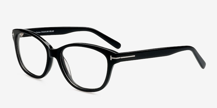 Mia Farrow Black Acetate Eyeglass Frames from EyeBuyDirect, Angle View