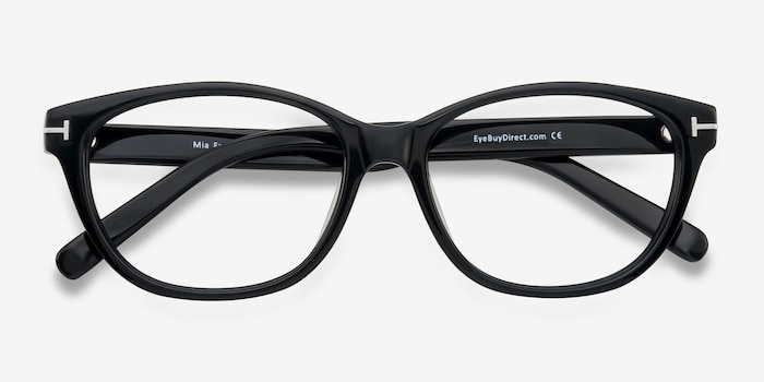 Mia Farrow Black Acetate Eyeglass Frames from EyeBuyDirect, Closed View