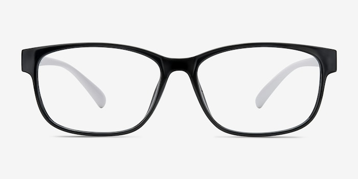 Robbie Black/White Plastic Eyeglass Frames from EyeBuyDirect, Front View