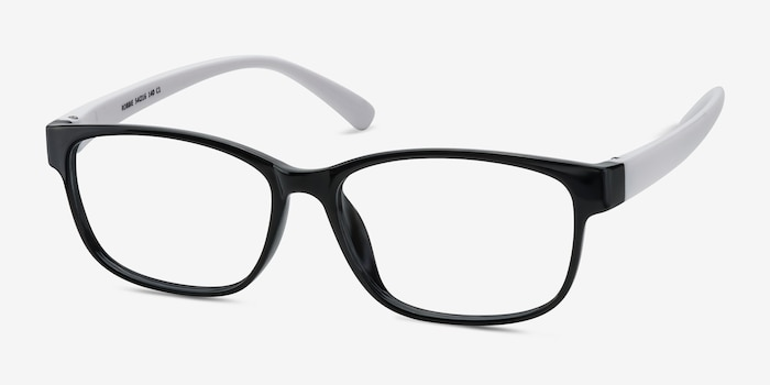 Robbie Black/White Plastic Eyeglass Frames from EyeBuyDirect, Angle View
