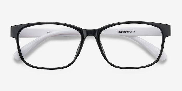 Robbie Black/White Plastic Eyeglass Frames from EyeBuyDirect, Closed View