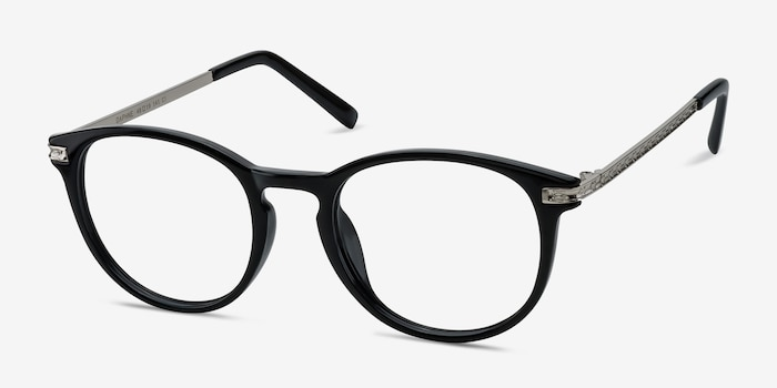 Daphne Black Plastic Eyeglass Frames from EyeBuyDirect, Angle View