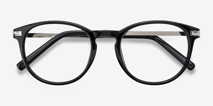 Daphne Black Plastic Eyeglass Frames from EyeBuyDirect, Closed View