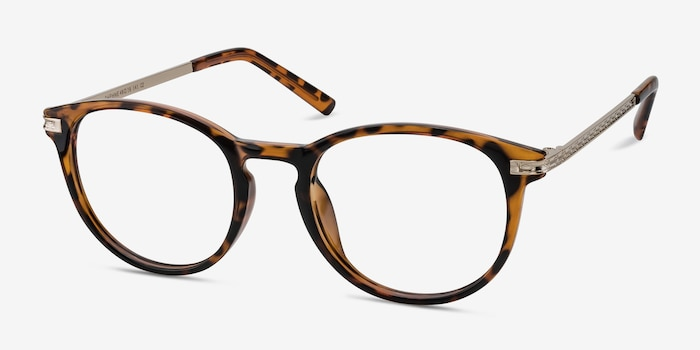 Daphne Brown/Tortoise Plastic Eyeglass Frames from EyeBuyDirect, Angle View
