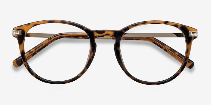 Daphne Brown/Tortoise Plastique Montures de Lunettes d'EyeBuyDirect, Vue Rapprochée