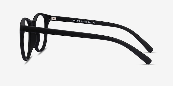 Chilling Black Plastic Eyeglass Frames from EyeBuyDirect, Side View