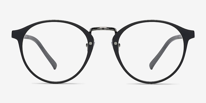 Chillax Matte Black/Gunmetal Metal Eyeglass Frames from EyeBuyDirect, Front View