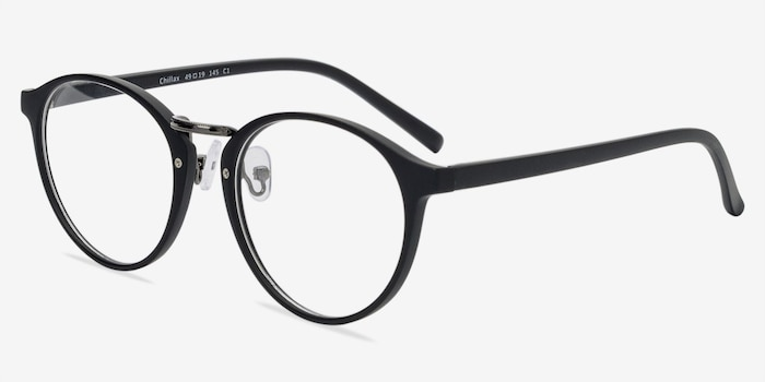 Chillax Matte Black/Gunmetal Metal Eyeglass Frames from EyeBuyDirect, Angle View