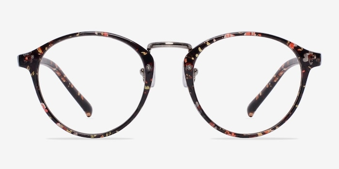 Chillax Red/Floral Metal Eyeglass Frames from EyeBuyDirect, Front View