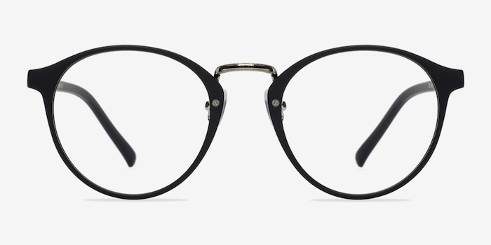 Chillax Matte Black/Silver Plastic Eyeglass Frames from EyeBuyDirect, Front View