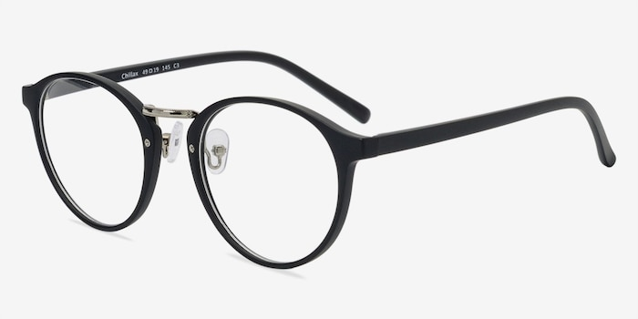 Chillax Matte Black/Silver Plastic Eyeglass Frames from EyeBuyDirect, Angle View